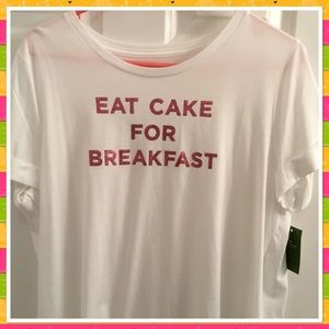 Kate Spade Eat Cake For Breakfast Tee Shirt NWT L
